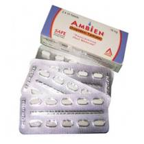 White background image of ambien 10mg tablets pack and front and backside view of pills