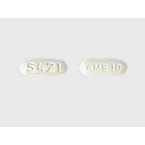 Grey background image of ambien 10mg tablets front and backside view