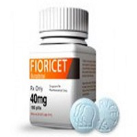 Box of floricet 40mg along with 2 tablets with white background